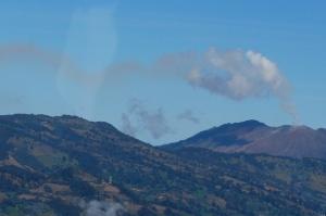 Irazu Volcano seen from airplane