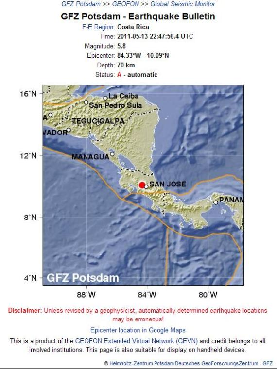 Costa Rica Earthquake 13th May 2011